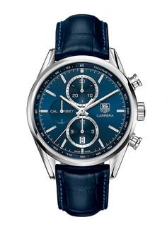 TAG Heuer's 1887 Carrera Chronograph uses the manufacture 1887 automatic movement and comes on a navy alligator strap to match the dial.