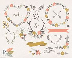 Folk flower wreaths, floral clip art, heart shaped wreath, antlers, overlay, laurels, borders, weddings, birthday, stationery, blog logo