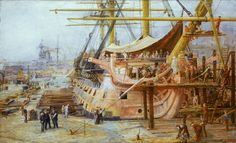 """""""Restoring HMS Victory"""" by the great marine artist William Lionel Wyllie (1851-1931)"""