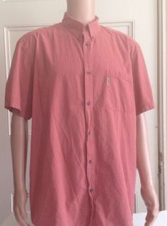 Columbia Shirt Mens Size XL Red Short Sleeve Button Front Cotton Check #Columbia #ButtonFront