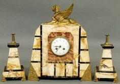 Marble Egyptian mantel clock with French works and gilt metal sphinx