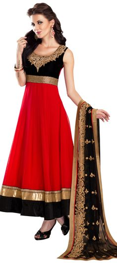 Buy Online from the link below. We ship worldwide (Free Shipping over US$100). Product SKU - 247307.Product Link -  http://www.kalkifashion.com/red-anarkali-suit-embellished-in-thread-and-zardosi-embroidery.html