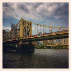 Knit the Bridge on the Andy Warhol Bridge in Pittsburgh, Pa Pittsburgh Bridges, Pittsburgh Pa, The 'burbs, George Washington Bridge, My Town, Andy Warhol, Tower Bridge, Illustrations Posters, Favorite Things