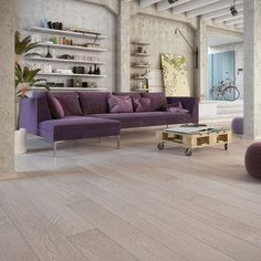 Barlinek Oak Cayman is an engineered plank floor with a brushed grey coloured matt lacquer finish. This oak wood floor looks great when paired with bright furniture and interiors. Engineered Wood Floors, Plank Flooring, Gray Interior, Interior Ideas, Light Oak, Living Spaces, Modern, Furniture, Marzipan