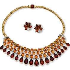 Beautiful Edwardian Retro Necklace and Earrings in Gold and Deep Red by Stephen Russell - Gems and Jewels of Distinction - Jewelry Collection