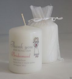 Thank you for being our BRIDESMAID personalised candle favour gift, organza bag Personalized Candles, Handmade Candles, Diy Candles, Pillar Candles, Candle Bags, Candle Favors, Candle Craft, Candle Maker, Thank You Messages
