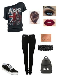 """""""Asking Alexandria"""" by geekystyler ❤ liked on Polyvore featuring MM6 Maison Margiela, Vans, Smashbox, Bling Jewelry and Anya Hindmarch"""