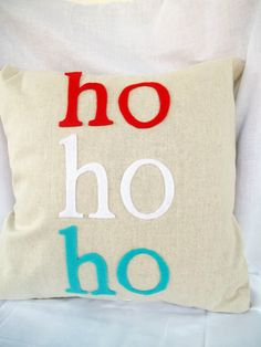 HO HO HO Christmas Pillow Cover 16x16 by lovebughandmade on Etsy, $25.00
