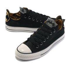 3217adb56af5 This Classic Black Converse Batman Chuck Taylor DC Comics Low Top Canvas  Shoes is so simple. Full black canvas with a batman logo printed on the  heel and ...