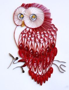 Red Velvet Owl - Unique Paper Quilled Wall Art for Home Decor (paper quilling handcrafted art piece made with love by artist in California) - http://centophobe.com/red-velvet-owl-unique-paper-quilled-wall-art-for-home-decor-paper-quilling-handcrafted-art-piece-made-with-love-by-artist-in-california/ -