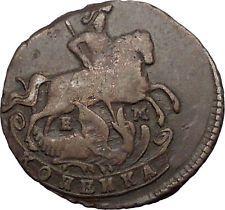1789 CATHERINE II the GREAT Russian Kopek Coin Saint George Slays Dragon i56430
