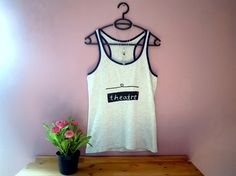 theatre theater t-shirt tank top  * handprinted item * silkscreen print * color: light grey with navy blue lining * 100% cotton * size: suitable for S/M (36/38) *
