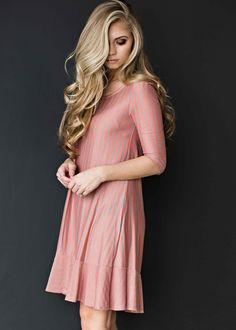 stripe dress, pink dress, dress, easter dress, blonde, hair, fashion, style, makeup, ootd, womens fashion, jessakae, shop,