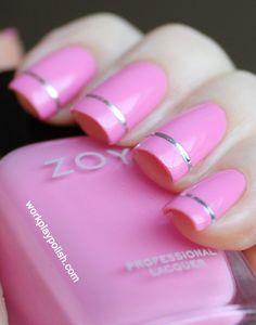 Pink and Silver Nail Art