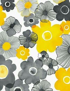 Yellow and grey together are amazing. print & pattern: NEW FABRICS - margaret berg Yellow and grey together are amazing. print & pattern: NEW FABRICS - margaret berg Motifs Textiles, Textile Patterns, Flower Patterns, Print Patterns, Flower Pattern Design, Surface Pattern Design, Pattern Art, Yellow Pattern, Pattern Drawing