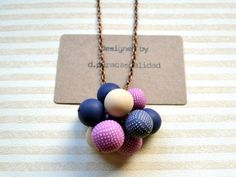 Gray and pink pendant necklace  Polymer clay by dpuracasualidad, $22.00