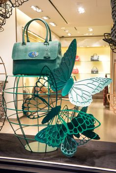 Mulberry Window Display | Butterfly & Cages by Millington Associates Fashion Window Display, Window Display Retail, Retail Windows, Store Windows, Visual Merchandising Displays, Visual Display, Display Design, Store Design, Boutique Interior