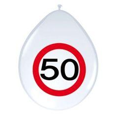Ballonnen Verkeersbord - 50 jaar, 8st.