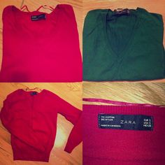 Two Zara Sweaters Size S Perfect condition!!! Worn once only!!! Perfect holiday colors!!! Zara Sweaters