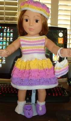 "Ladyfingers - AG doll - ""Rippling Waves"" Skirt and Sleeveless Top, w/Hat, Purse, Bobby Sox & Shoes"