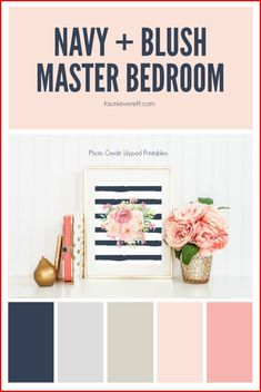 and Blush Master Bedroom Navy and Blush Master Bedroom (Color palette for home office?)Navy and Blush Master Bedroom (Color palette for home office? Navy Bedrooms, Gold Bedroom, Home Decor Bedroom, Bedroom Ideas, Master Bedrooms, Bedroom Designs, Pink Master Bedroom, Blush Bedroom Decor, Master Closet