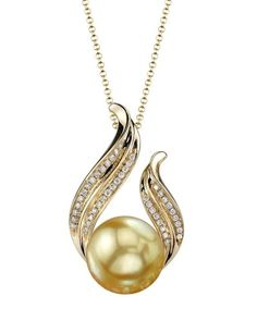 Diamonds and Gemstones: Golden South Sea Pearl & Diamond Tiara Pendant Necklace In 14K Gold