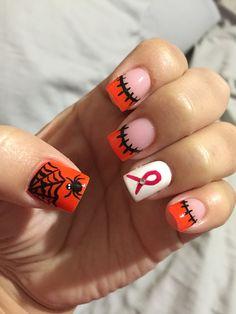 Halloween nail art orange black spiderweb spider  Breast Cancer awareness white pink glamour  Savvy Nails 305