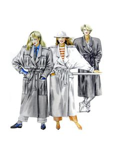 Neue Mode 20424 Double Breast Trench Coat in Two Lengths with Pocket Variations, Uncut, Factory Folded Sewing Pattern Multi Size Spanish Pattern, Coat Patterns, Vintage Sewing Patterns, Winter Coat, Double Breasted, Trench, 1980s, Size 10, Pocket