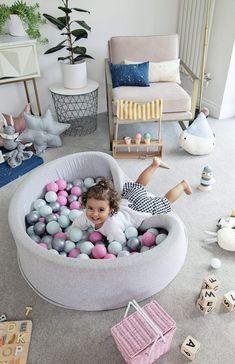 69 Ideas Baby Nursery In Parents Room Toys Baby Boy Rooms, Baby Boy Nurseries, Baby Cribs, Baby Room, Colorful Playroom, Modern Playroom, Ball Pit Pink, Contemporary Nursery Decor, Montessori