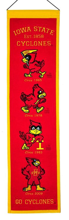 - Vertical banners chronicle the evolution of select logos or mascots through the years - Each logo is identified with a circa date connecting each to a specific time period - Banner is constructed wi