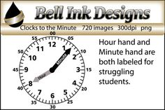 """There 720 black and white clock images in this file.  Each clock has the hands labeled as """"HOUR"""" and MINUTE"""".I made these for some kiddos I have who struggle a great deal with telling time.  The hour and minute hands are labeled to aid students with grasping the concept of this difficult skill."""