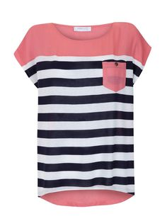Striped with coral top line and pocket