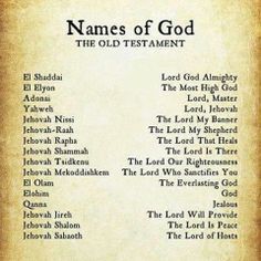 Names of God.if these are the names GOD Jehovah is called in the old testament that means each time lord is said, it is speaking of Jehovah as God NOT Jesus. Jehovah is Gods name. Jesus is his son. Christian Life, Christian Quotes, Christian Names, Bible Scriptures, Bible Quotes, Jesus Bible, Faith Quotes, Bibel Journal, Names Of God