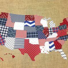 USA Fabric Scrap Map by The little Green Bean