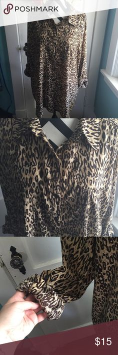"""George 18W-20W Button Down Leopard Print Blouse Measurements-- Bust: 28.5"""" flat Waist: 27"""" flat Hips: 26.5"""" flat Length: 30"""" Sleeve: 19"""" George Tops Button Down Shirts"""