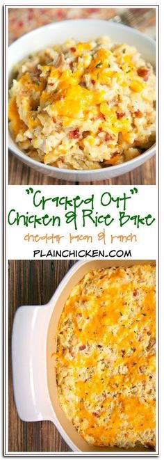 """""""Cracked Out"""" Chicken and Rice Bake - chicken, cheddar, bacon, Ranch and rice - quick and easy weeknight casserole! Use rotisserie chicken and this comes together in 5 minutes! We make this at least once a week! - The Most Healthy Foods Chicken Rice Bake, Chicken Rice Recipes, Chicken And Rice Cassarole, Healthy Rotisserie Chicken Recipes, Easy Chicken And Rice, Oven Chicken Recipe Easy, Chicken Soup, Easy Leftover Chicken Recipes, Chicken Cheese Rice Casserole"""