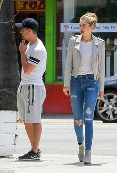 That's what friends are for: Gigi Hadid was being cheered up by  Joe Jonas as they grabbed some lunch at Cheebo restaurant in West Hollywood on Wednesday