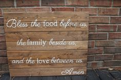 Wooden Sign- Pallet Art: Bless the food before us, the family beside us, and the love between us on Etsy, $80.00