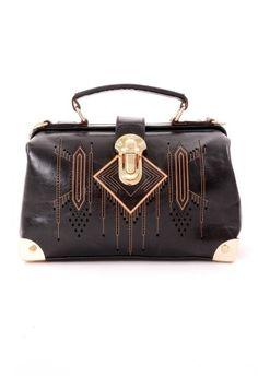 Aztec Pattern Doctor Bag in Black