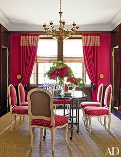Deep Ruby Red Fabric, Punctuated By Delicate Polka Dots, Enliven The  Sophisticated Dining Room