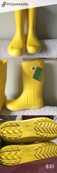 Crocs Rain Boots Bran new with tags still attached. Super cute and comfy yellow rain boots. Women's size 10. CROCS Shoes Winter & Rain Boots