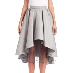 ABS Layered Metallic Hi-Lo Skirt ($170) ❤ liked on Polyvore featuring skirts, apparel & accessories, silver, long flared skirts, layered skirt, flared skirt, circle skirt en metallic skater skirt
