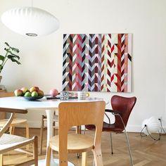 "158 likerklikk, 11 kommentarer – Anne Dubois Aarsland (@anne_aarsland) på Instagram: ""Just put up this new painting in the kitchen #colours #painting #concreteart #geometricart #pattern…"""