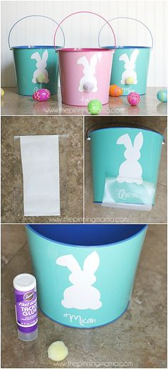 a cute Easter craft! I love making vinyl projects with my Silhouette CAMEO. Such a cute Easter craft! I love making vinyl projects with my Silhouette CAMEO.Such a cute Easter craft! I love making vinyl projects with my Silhouette CAMEO. Easter Projects, Easter Crafts, Easter Ideas, Diy Projects, Bunny Crafts, Easter Decor, Custom Easter Baskets, Easter Buckets, Diy Y Manualidades