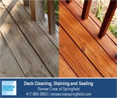 http://renewcrewspringfield.com/deck-cleaning-staining-sealing – Renew Crew of Springfield's deck cleaning process begins with cleaning the wood to remove dirt, mold and grim. Then we apply a professional wood stain and sealant to protect the wood for a great looking deck. We serve Springfield MO plus Greene, Christian, Webster, Polk and Dallas Counties. Free estimates.