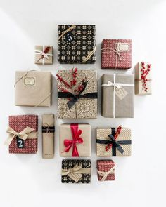 Simple + class DIY gift wrapping inspiration with postal paper + red and black accents   Happy Grey Lucky