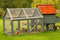 Innovative chicken coops add yard chic A movable chicken coop sold by Williams-Sonoma is built on wheels, which makes it easy to maneuver around a lawn providing fresh grass for the small, foraging flock. Moveable Chicken Coop, Chicken Coop On Wheels, Urban Chicken Coop, Chicken Coop Decor, Mobile Chicken Coop, Small Chicken Coops, Easy Chicken Coop, Chicken Coup, Chicken Tractors