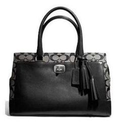 Women's Shoulder Bags - Coach Legacy Signature Chelsea Carryall BlackWhite * Click image to review more details.