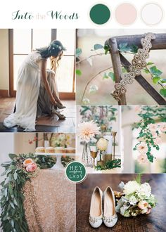 Our wedding colors! Wedding Inspiration in Warm Neutral Tones of Ivory and Blush with Green and navy
