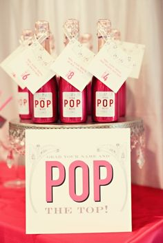 Grab your name and POP the top. Table assignments.